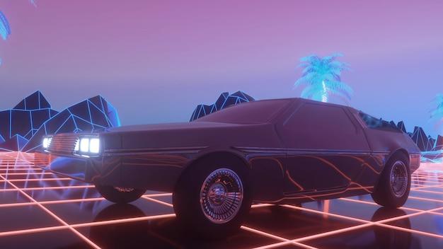 ネオンの抽象的な空間を通る未来的な車のドライブ。 retrowaveの背景。 3dレンダリング。