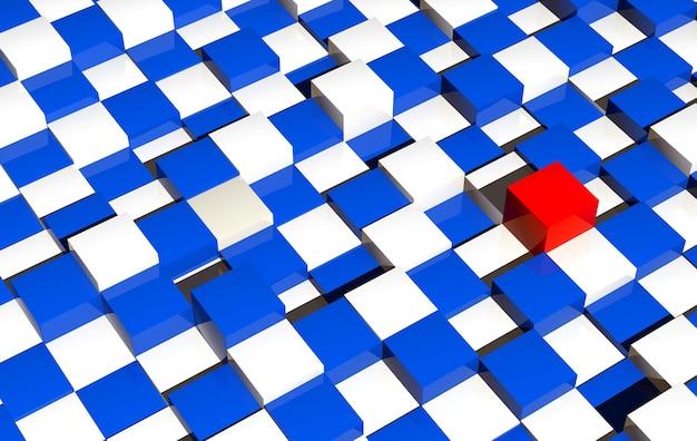 미래의 체커 플랫폼 배경입니다. 3d 렌더링