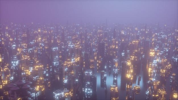 Futuristic city at night in the fog
