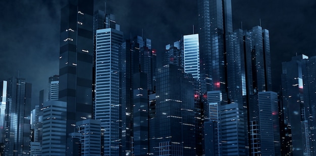 Futuristic city at night