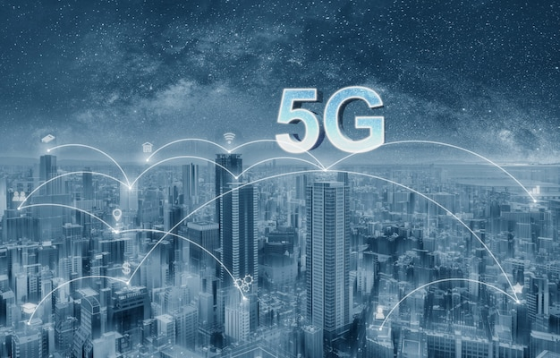 Futuristic city with 5g internet and application icons, smart city