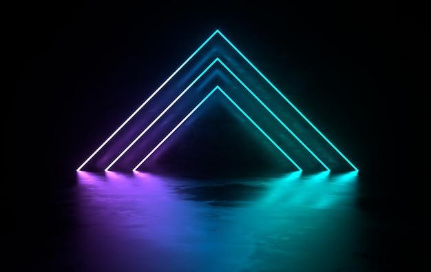輝くネオンライトのある未来的なコンクリートの部屋
