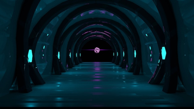 녹색과 분홍색 네온 불빛 추상 어두운 배경 3d 렌더링 미래 복도 개념