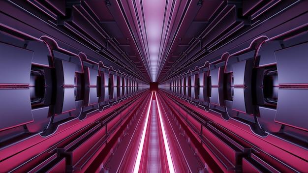 Futuristic corridor with neon lights 4k uhd 3d illustration Premium Photo