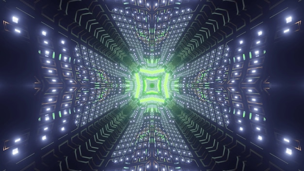 Futuristic cosmic tunnel with green neon geometric element and glowing walls in 3d illustration Premium Photo