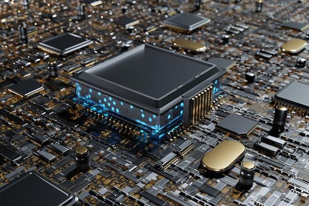 마더보드 회로 기판 3d 렌더링의 미래형 cpu 프로세서 블루 라이트