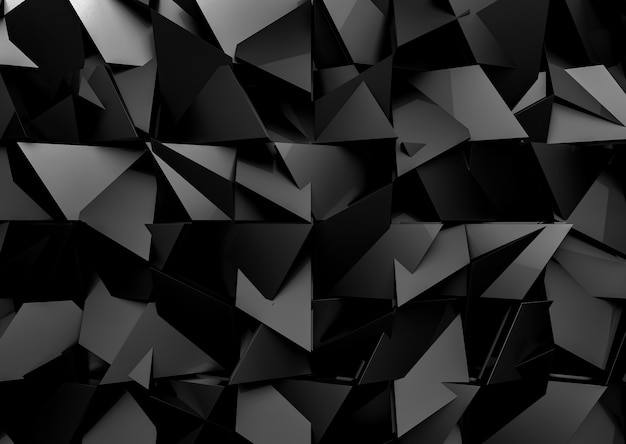 Futuristic dark black mix polygon shape pattern wall background.