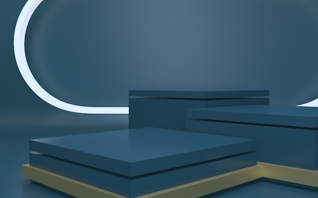 Futuristic dark blue blank podium for product display with abstract background