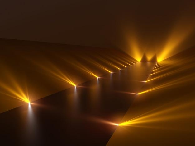 光と反射面を備えた未来的な暗い廊下