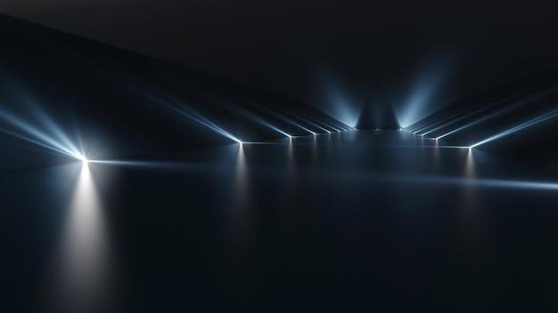 Футуристический темный подиум со световой и отражающей поверхностью