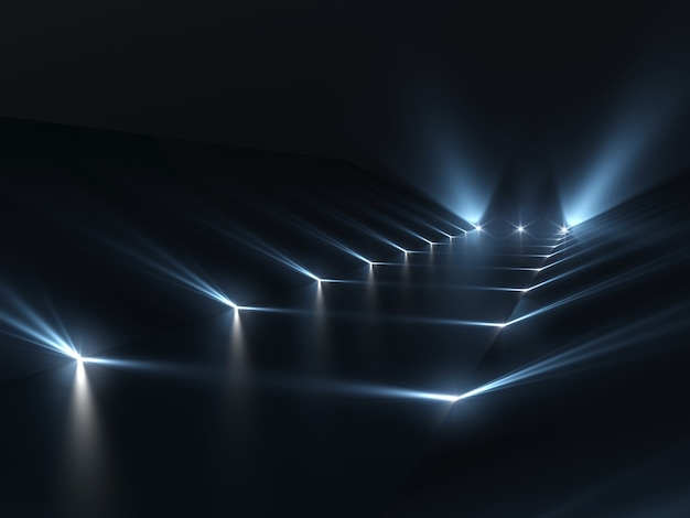 Futuristic dark podium with light and reflection surface