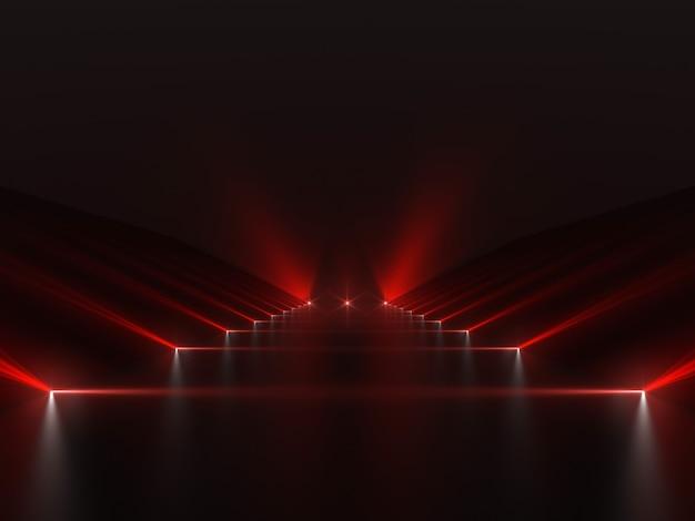 赤いライトと反射面のある未来的な暗赤色のパス