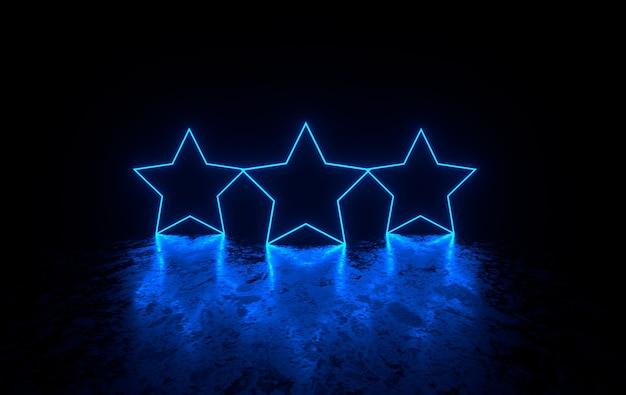 輝くネオン星のある未来的な暗い部屋