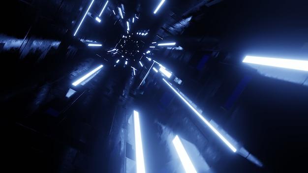 ネオンライトのある未来的なダークトンネル。 3dレンダリングのイラスト。