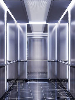 Futuristic design of an elevator cabin with mirrors with neon illumination and metal panels. modern elevator design. reflection to infinity. 3d rendering