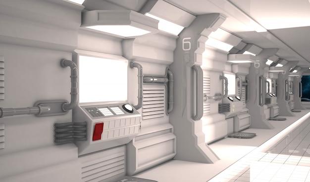 Futuristic design spaceship interior with metal floor and light panels.