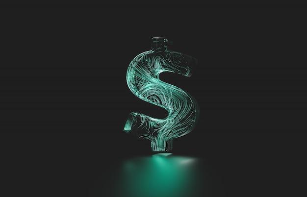 未来的なドルのデジタル通貨。デジタルお金3 dアイコン。