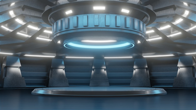 Futuristic empty stand for modern future background technology sci-fi