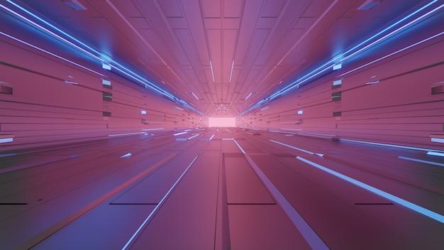 Футуристический пустой туннель с неоновыми огнями
