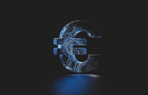 未来のユーロセントのデジタル通貨。デジタルお金3 dアイコン。
