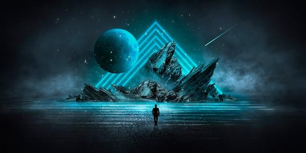 Футуристический фэнтезийный абстрактный ночной пейзаж с островным лунным светом и отражением света в воде