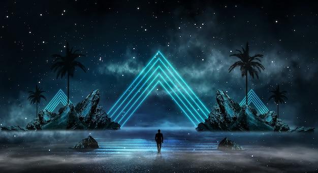 島の月明かりの輝きと水面に光が反射する、未来的なファンタジーの抽象的な夜景