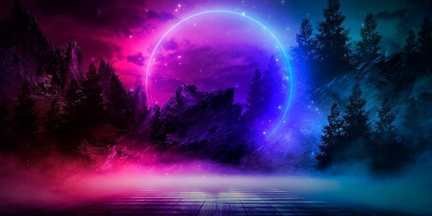 島の月明かりが輝く未来ファンタジー抽象的な夜景