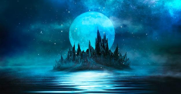 抽象的な島々と宇宙銀河のある夜空のある未来的なファンタジーの夜の風景