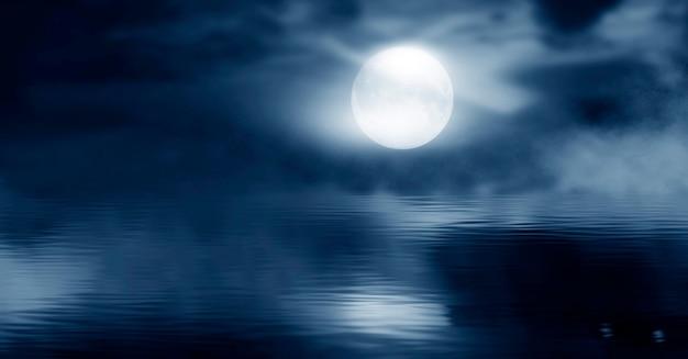 추상 섬과 우주 은하가 있는 밤하늘이 있는 미래의 판타지 밤 풍경