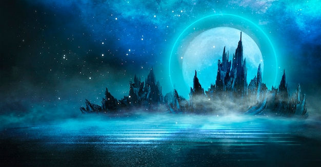 Futuristic fantasy night landscape with abstract islands and night sky with space galaxies