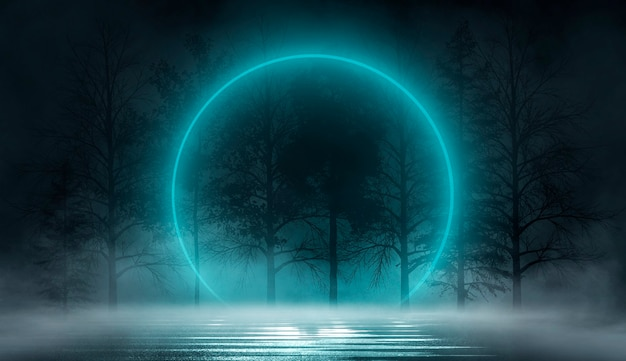 추상적인 풍경 달빛 빛 어두운 자연 장면과 미래의 판타지 밤 풍경 프리미엄 사진