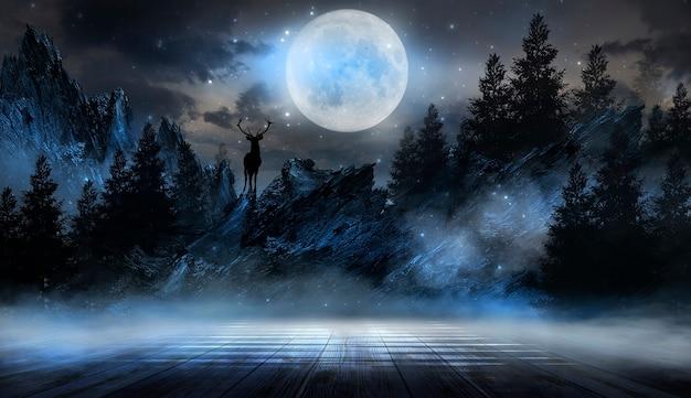抽象的な風景の月明かりが暗い自然のシーンを照らす未来的なファンタジーの夜の風景