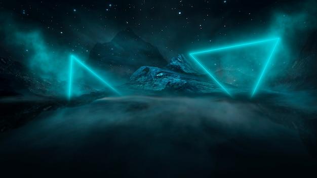 Футуристический фэнтезийный ночной пейзаж с отражением света в воде. неоновая космическая галактика портал 3d иллюстрации