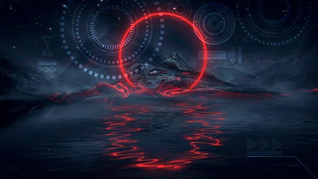 물에 빛의 반사와 미래의 판타지 밤 풍경. 네온 우주 은하 포털 3d 그림