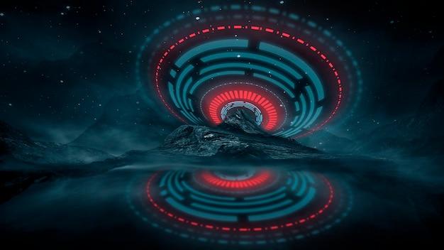 水に光が反射する未来的なファンタジーの夜の風景。ネオン宇宙銀河ポータル3dイラスト