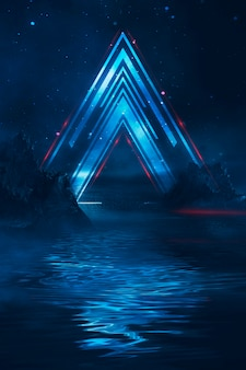Futuristic fantasy night landscape with  light reflection in water. neon space galaxy portal 3d illustration