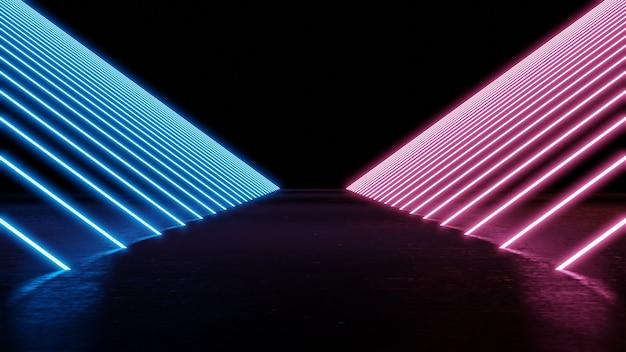 Футуристическая люминесцентная лампа неонового голубого и фиолетового цвета на черном изолированном фоне 3d