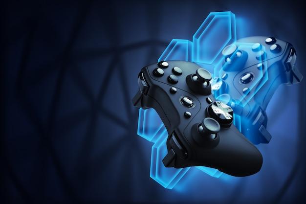未来的なゲーム。ビデオゲームのコンセプト。ゲームパッドは、ビデオゲームの飛行ロボットを制御します。ブロックチェーンゲーム。