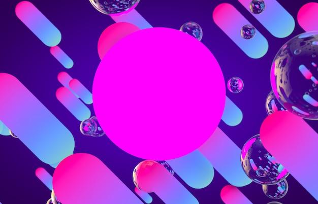 빛나는 네온 컬러 배경으로 미래의 기하학적 동적 라인 모양.