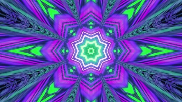 Futuristic geometric floral neon ornament 4k uhd 3d illustration