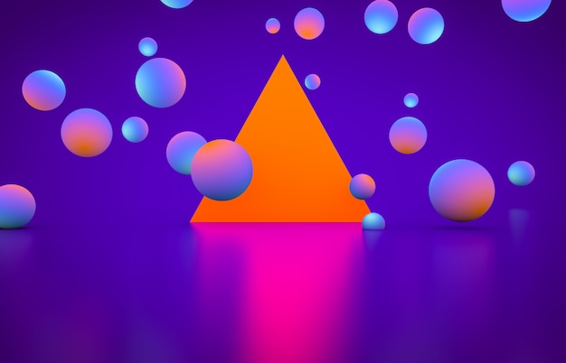 Futuristic geometric shape empty stage with glowing neon color.