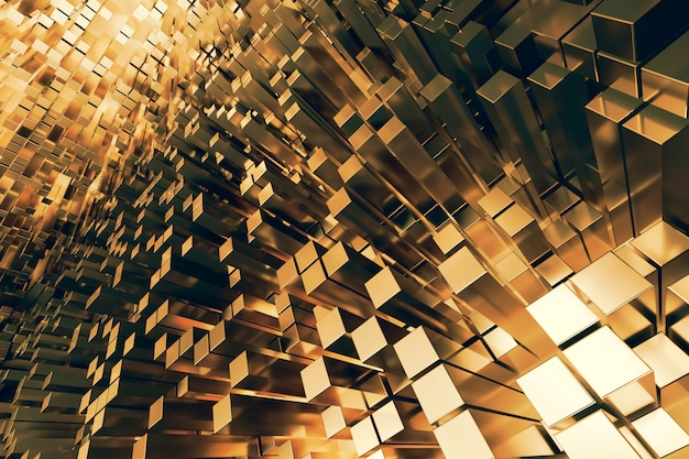 Futuristic gold squares extruded abstract  , 3d render