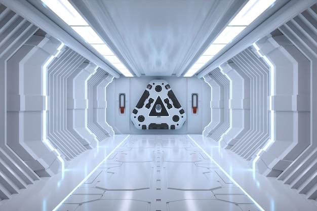 Футуристический коридор. концепция интерьера и современное будущее