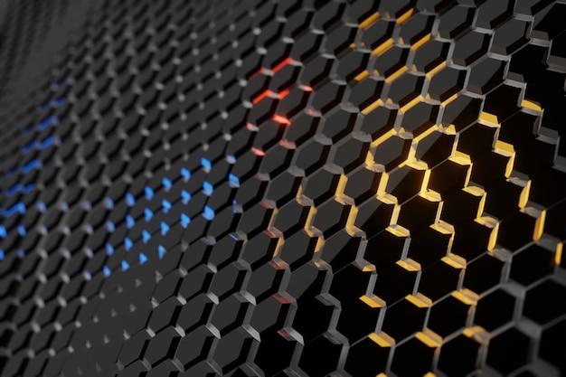 Futuristic hexagon wavy background