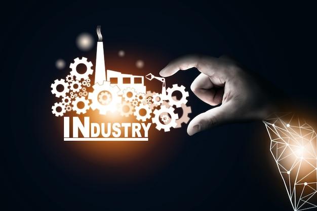 Футуристическая концепция индустрии 4.0 - разработка с графическим интерфейсом, показывающим дизайн автоматизации, работу роботов, использование машинного глубокого обучения для будущего производства.
