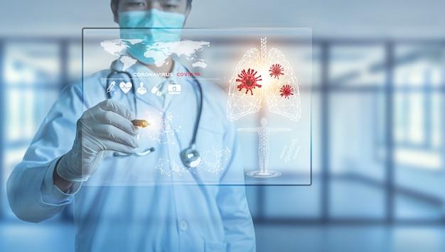 Futuristic innovative corona covid-19 virus doctor wear mask virtual digital ai infographic data tech