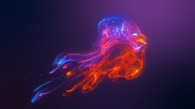 Futuristic jellyfish shape red blue colorful fluid particles wave flowing. 3d rendering de-focus abstract