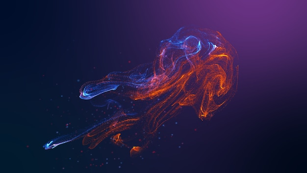 미래의 해파리 모양 빨간색 파란색 다채로운 유체 입자 물결 흐르는.