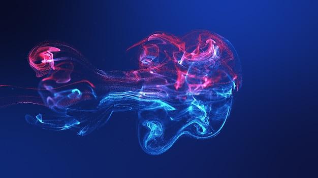 미래의 해파리 모양 노란색 파란색 다채로운 유체 입자 물결 흐르는. 3d 렌더링 de-focus 추상적 인 배경