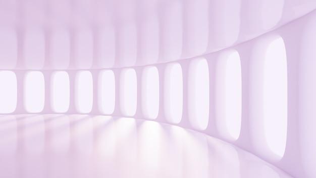 未来的なライトパープルブランクマットインテリア。 3dレンダリング。